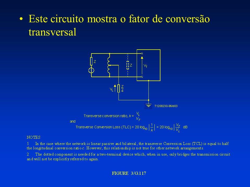 VTR = VTX + IL.2.RF VTR = EL - IL.ZL Onde: VTX : Tensão referenciada a terra entre os terminais RINGx e TIPx (tensão transversal) VTR : tensão metálica (AC) entre os fios RINGx e TIPx EL : Tensão da linha em circuito aberto; IL : Corrente metálica (AC) RF : Resistor protetor contra sobre tensão ZL : Impedância da linha ZT : impedância da rede de equilíbriio; ZRX : controla o ganho de 4 para 2 fios; VRX : sinal analógico referenciado a terra de recepção.