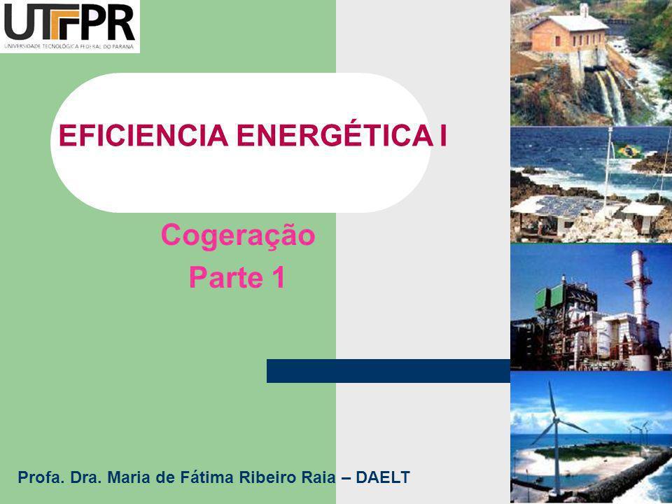 EFICIENCIA ENERGÉTICA I Cogeração Parte 1 Profa. Dra. Maria de Fátima Ribeiro Raia – DAELT
