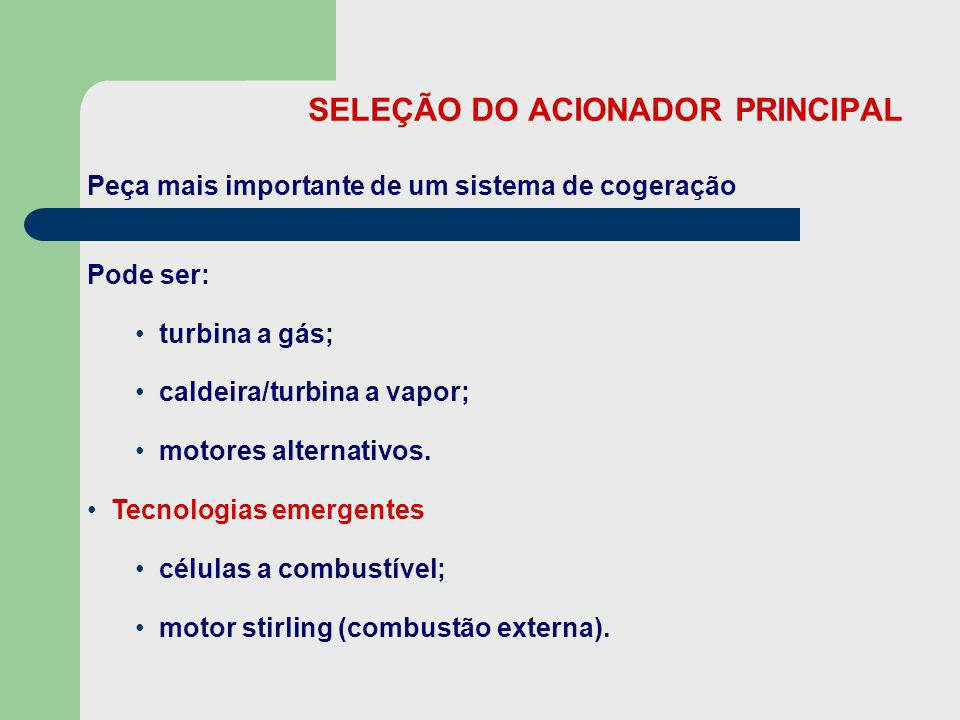 SELEÇÃO DO ACIONADOR PRINCIPAL Peça mais importante de um sistema de cogeração Pode ser: turbina a gás; caldeira/turbina a vapor; motores alternativos
