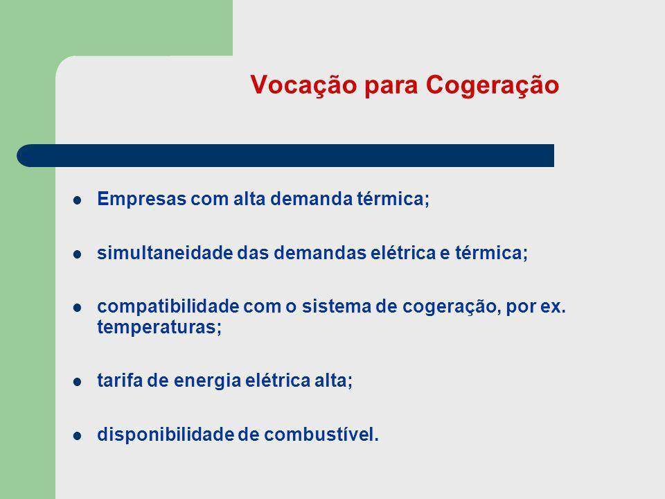 Vocação para Cogeração Empresas com alta demanda térmica; simultaneidade das demandas elétrica e térmica; compatibilidade com o sistema de cogeração,