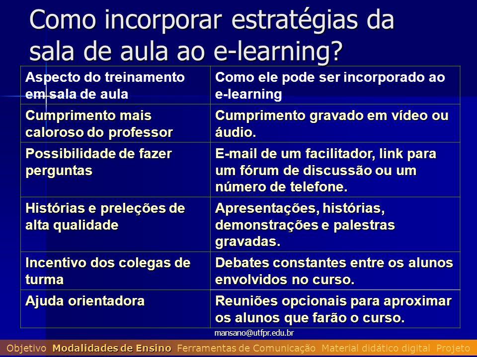 mansano@utfpr.edu.br Aspecto do treinamento em sala de aula Como ele pode ser incorporado ao e-learning Cumprimento mais caloroso do professor Cumprim
