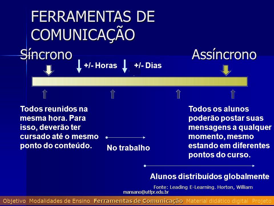 mansano@utfpr.edu.br FERRAMENTAS DE COMUNICAÇÃO SíncronoAssíncrono Todos reunidos na mesma hora. Para isso, deverão ter cursado até o mesmo ponto do c