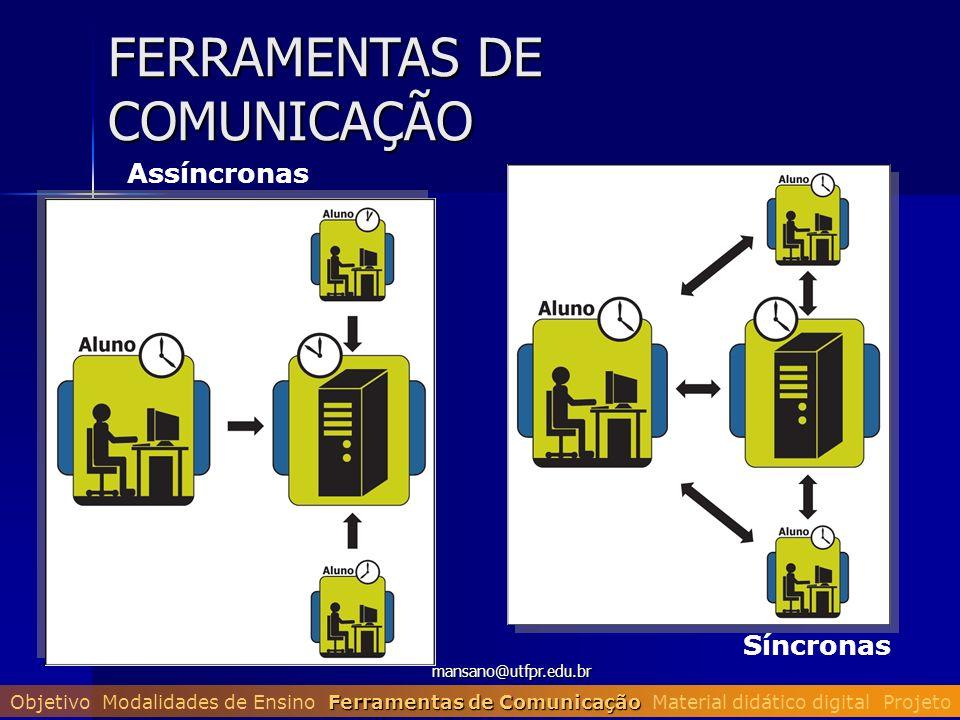 mansano@utfpr.edu.br FERRAMENTAS DE COMUNICAÇÃO Assíncronas Síncronas Ferramentas de Comunicação Objetivo Modalidades de Ensino Ferramentas de Comunic