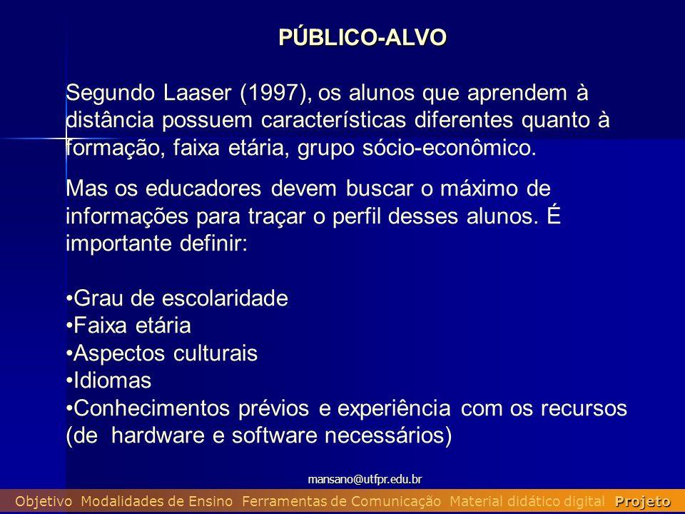 mansano@utfpr.edu.br Projeto Objetivo Modalidades de Ensino Ferramentas de Comunicação Material didático digital Projeto PÚBLICO-ALVO Segundo Laaser (