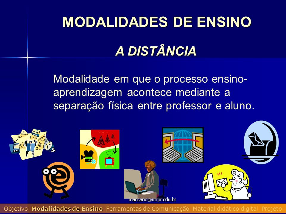 mansano@utfpr.edu.br A DISTÂNCIA Modalidade em que o processo ensino- aprendizagem acontece mediante a separação física entre professor e aluno. MODAL