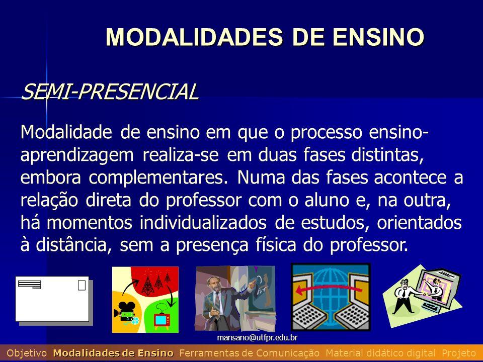 mansano@utfpr.edu.br MODALIDADES DE ENSINO SEMI-PRESENCIAL SEMI-PRESENCIAL Modalidade de ensino em que o processo ensino- aprendizagem realiza-se em d