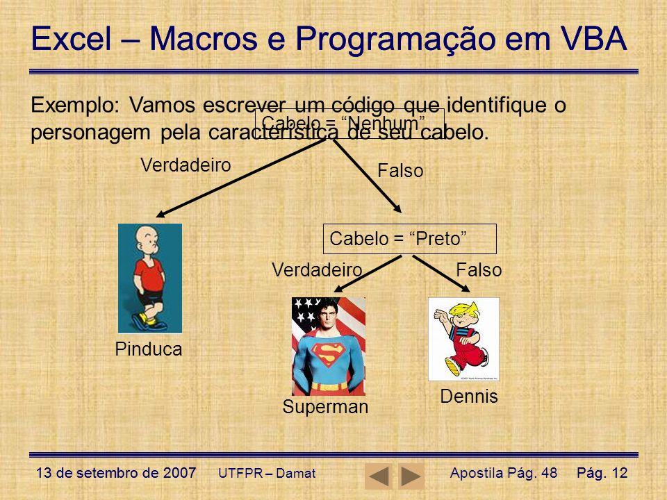 Excel – Macros e Programação em VBA 13 de setembro de 2007Pág. 12 Excel – Macros e Programação em VBA 13 de setembro de 2007Pág. 12 UTFPR – Damat Cabe