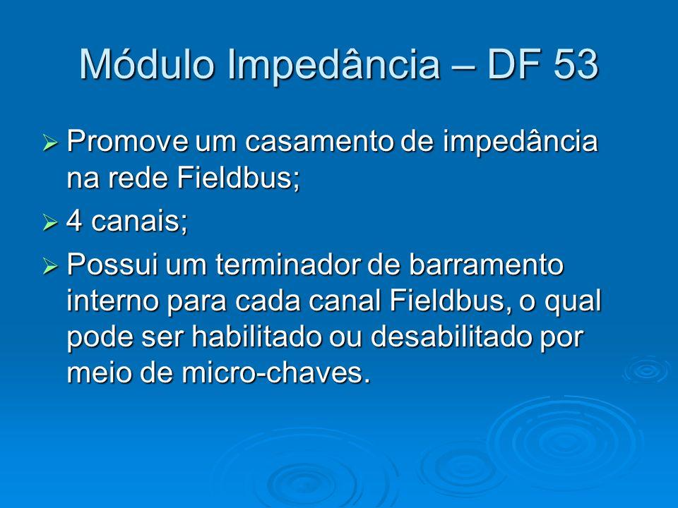 Módulo Impedância – DF 53 Promove um casamento de impedância na rede Fieldbus; Promove um casamento de impedância na rede Fieldbus; 4 canais; 4 canais