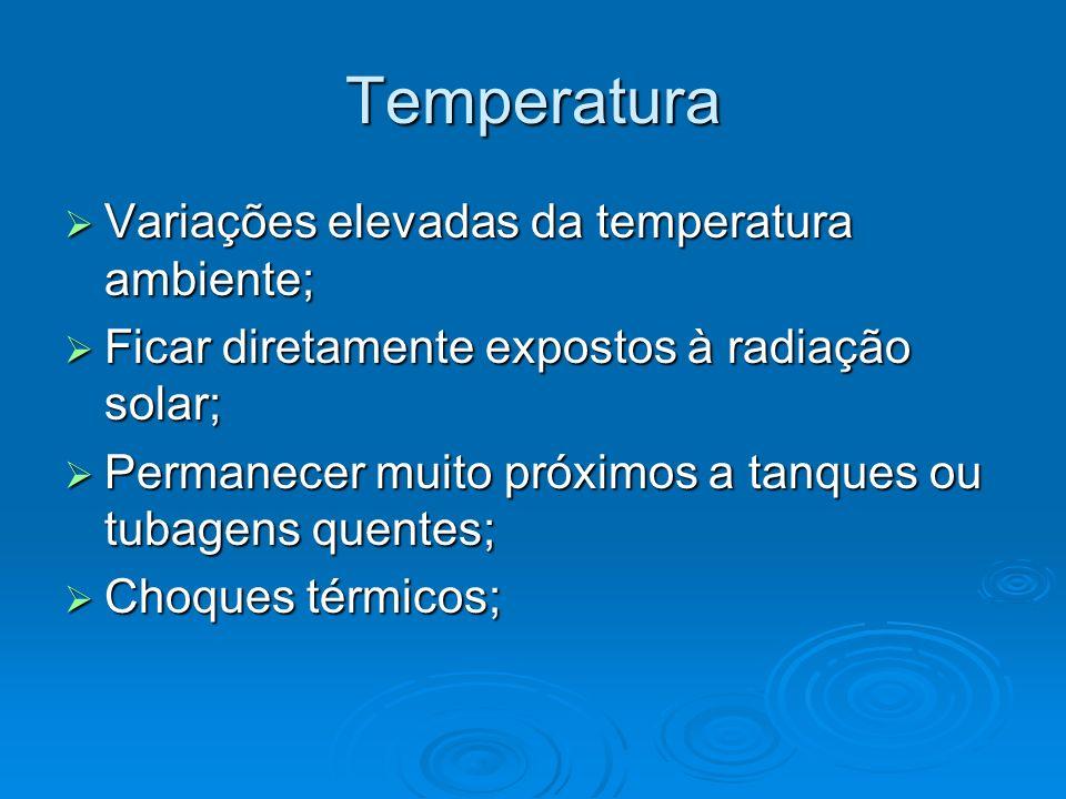 Temperatura Variações elevadas da temperatura ambiente; Variações elevadas da temperatura ambiente; Ficar diretamente expostos à radiação solar; Ficar