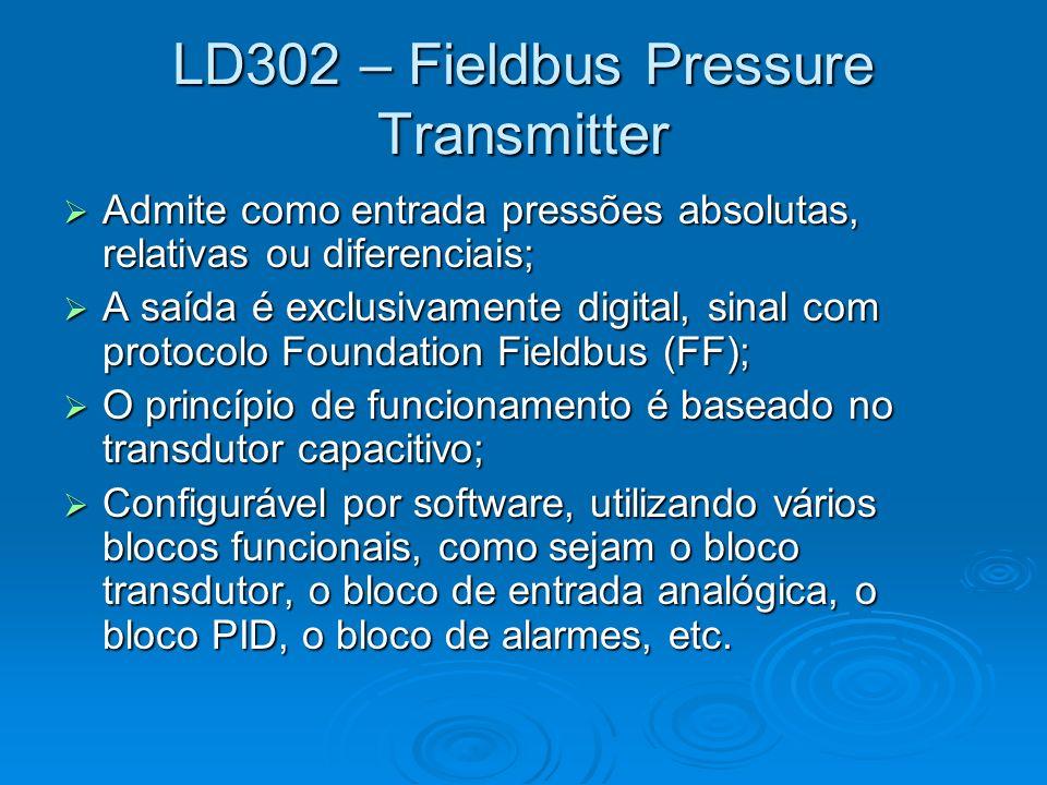 LD302 – Fieldbus Pressure Transmitter Admite como entrada pressões absolutas, relativas ou diferenciais; Admite como entrada pressões absolutas, relat
