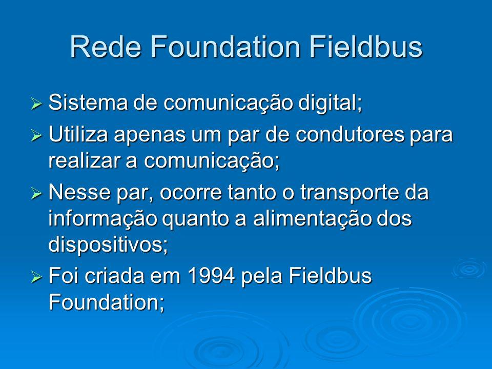 Rede Foundation Fieldbus Sistema de comunicação digital; Sistema de comunicação digital; Utiliza apenas um par de condutores para realizar a comunicaç