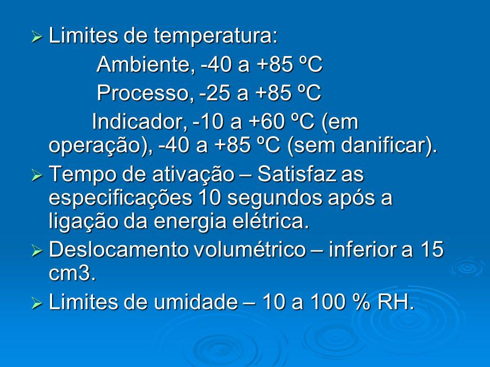 Limites de temperatura: Limites de temperatura: Ambiente, -40 a +85 ºC Ambiente, -40 a +85 ºC Processo, -25 a +85 ºC Processo, -25 a +85 ºC Indicador,