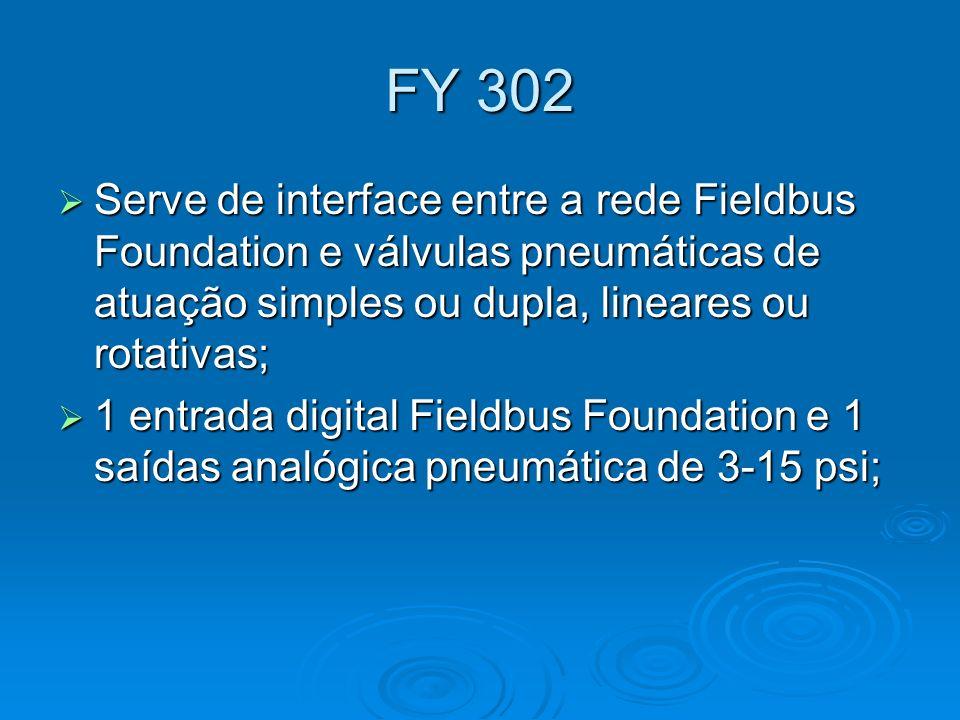 FY 302 Serve de interface entre a rede Fieldbus Foundation e válvulas pneumáticas de atuação simples ou dupla, lineares ou rotativas; Serve de interfa