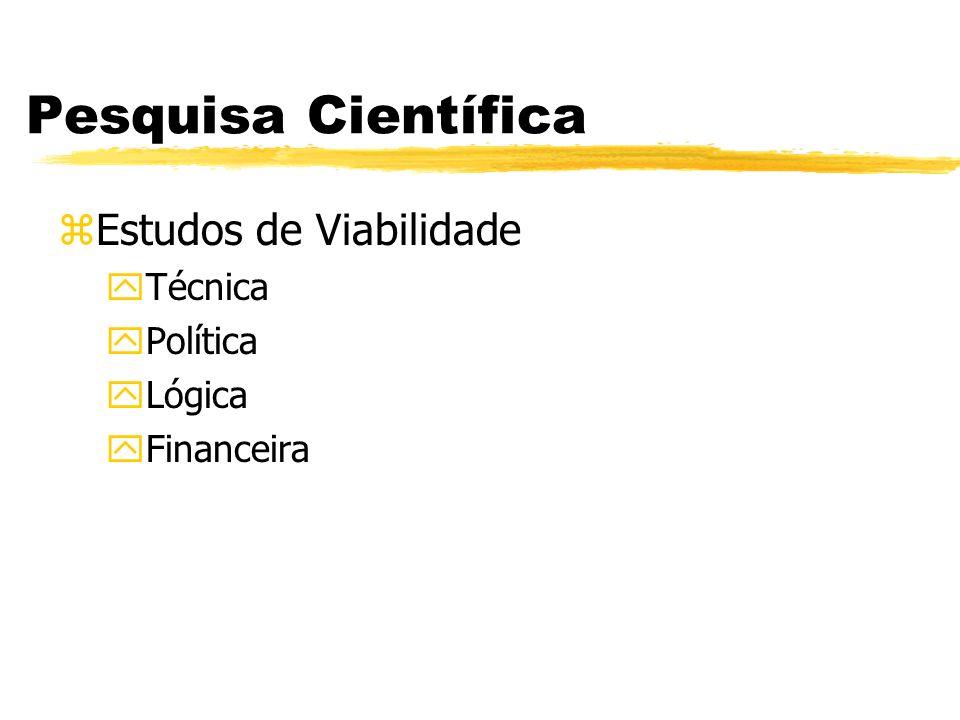 Pesquisa Científica zEstudos de Viabilidade yTécnica yPolítica yLógica yFinanceira