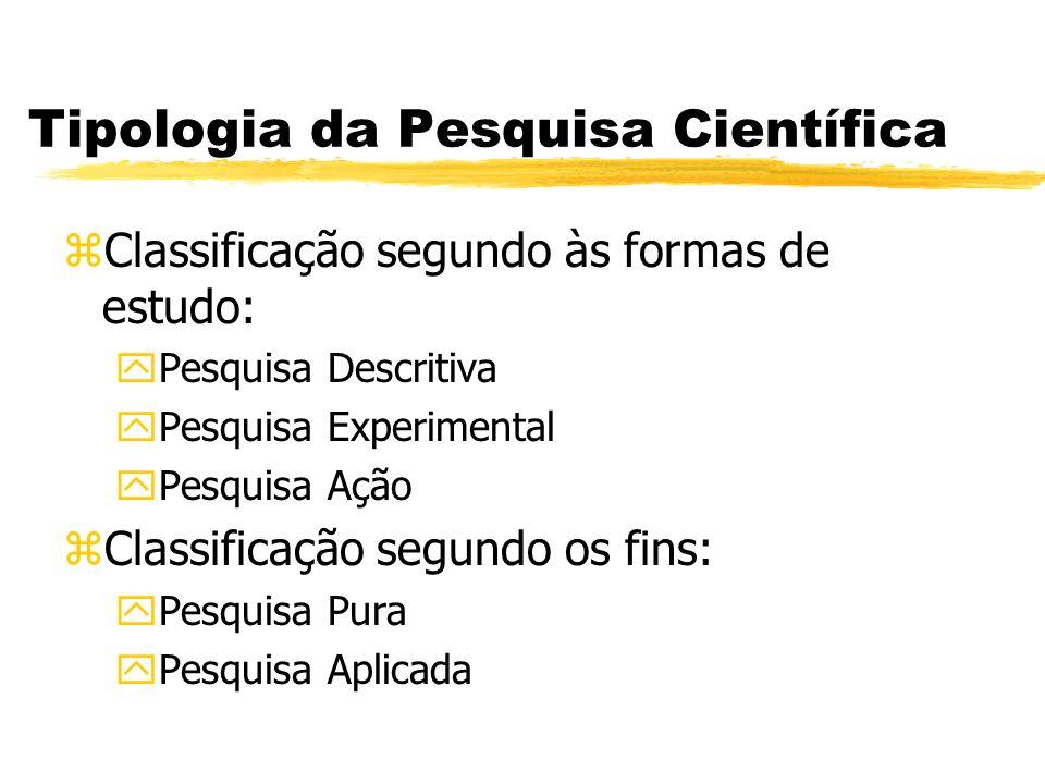 Tipologia da Pesquisa Científica zClassificação segundo às formas de estudo: yPesquisa Descritiva yPesquisa Experimental yPesquisa Ação zClassificação