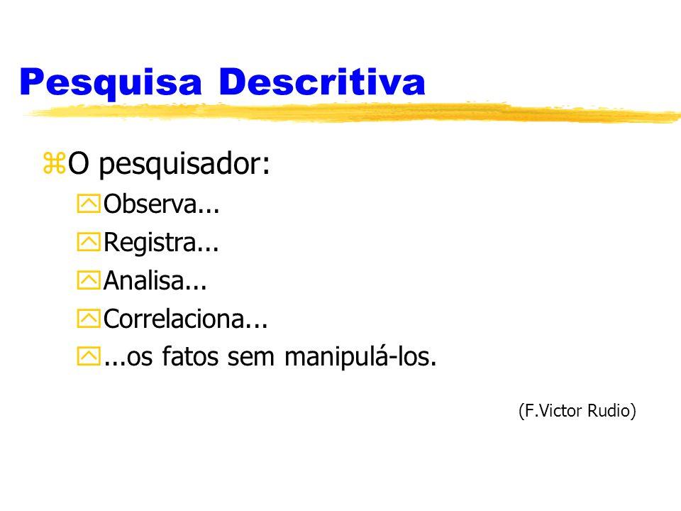 Pesquisa Descritiva zO pesquisador: yObserva... yRegistra... yAnalisa... yCorrelaciona... y...os fatos sem manipulá-los. (F.Victor Rudio)