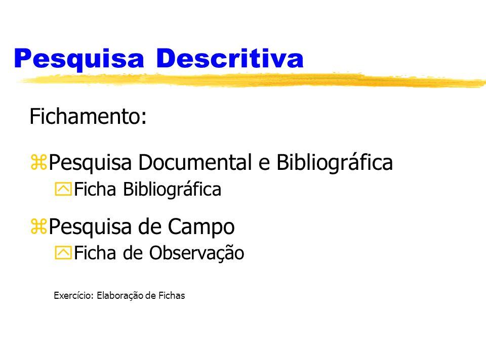 Pesquisa Descritiva Fichamento: zPesquisa Documental e Bibliográfica yFicha Bibliográfica zPesquisa de Campo yFicha de Observação Exercício: Elaboraçã
