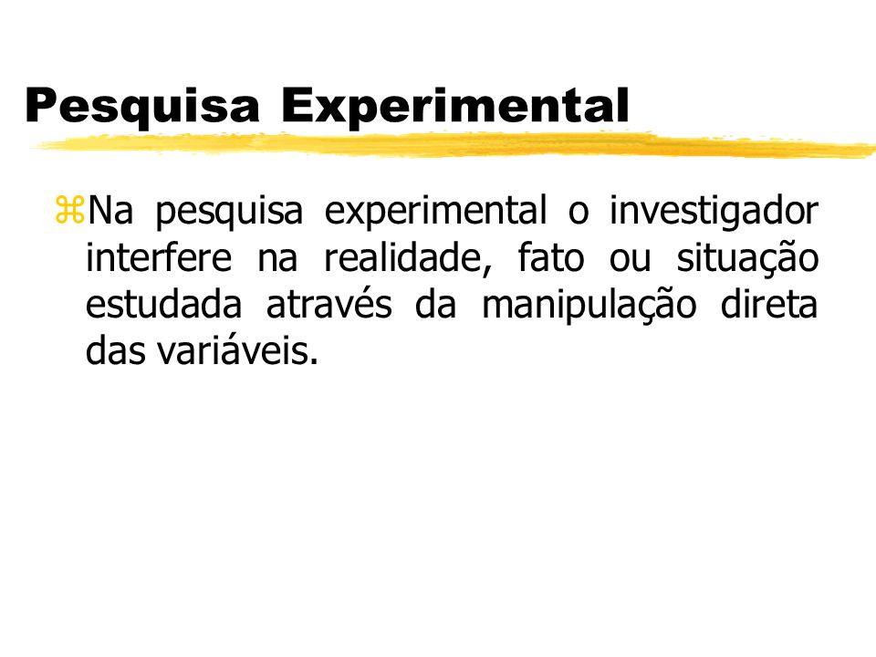 Pesquisa Experimental zNa pesquisa experimental o investigador interfere na realidade, fato ou situação estudada através da manipulação direta das var