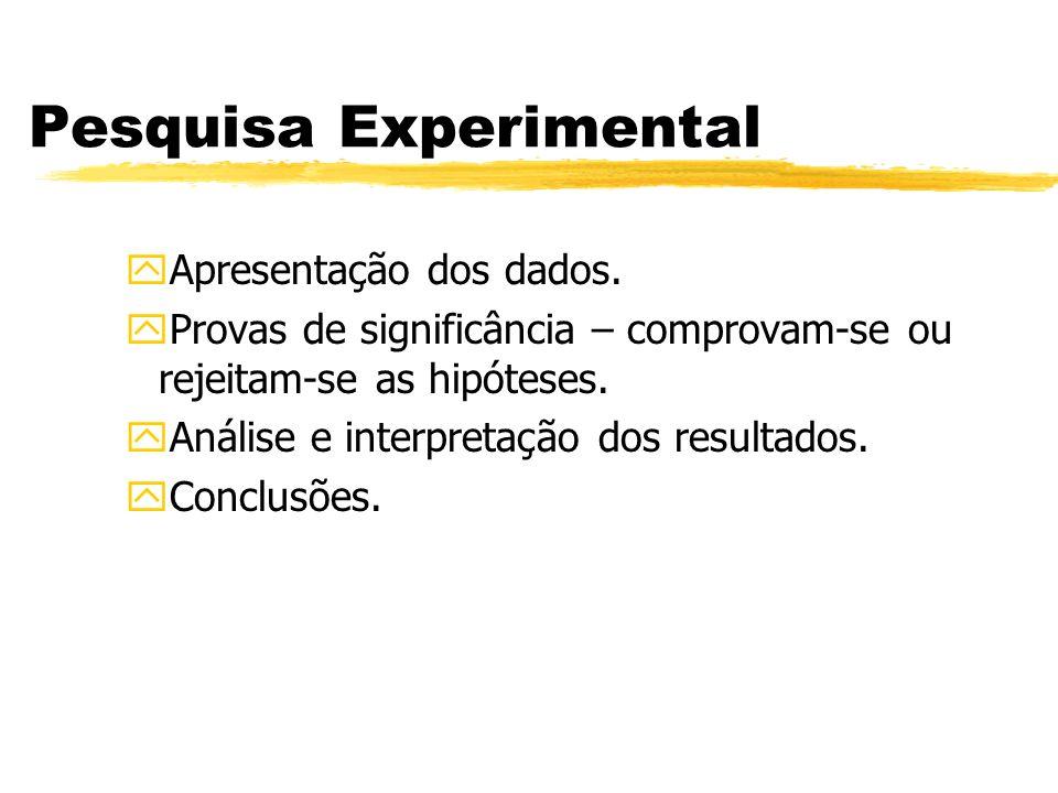 Pesquisa Experimental yApresentação dos dados. yProvas de significância – comprovam-se ou rejeitam-se as hipóteses. yAnálise e interpretação dos resul