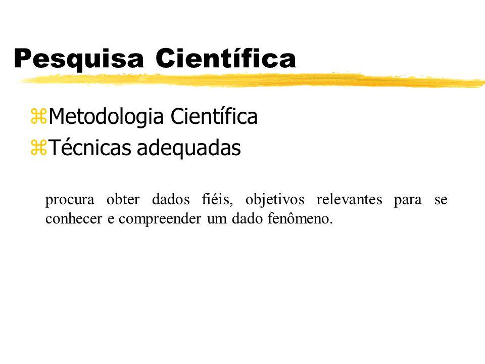 Pesquisa Científica zMetodologia Científica zTécnicas adequadas procura obter dados fiéis, objetivos relevantes para se conhecer e compreender um dado