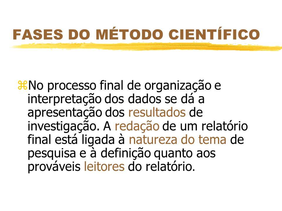 FASES DO MÉTODO CIENTÍFICO zNo processo final de organização e interpretação dos dados se dá a apresentação dos resultados de investigação. A redação