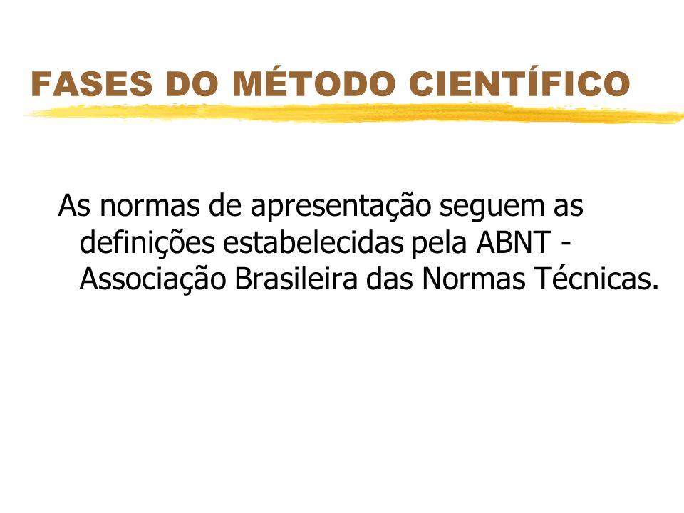 FASES DO MÉTODO CIENTÍFICO As normas de apresentação seguem as definições estabelecidas pela ABNT - Associação Brasileira das Normas Técnicas.