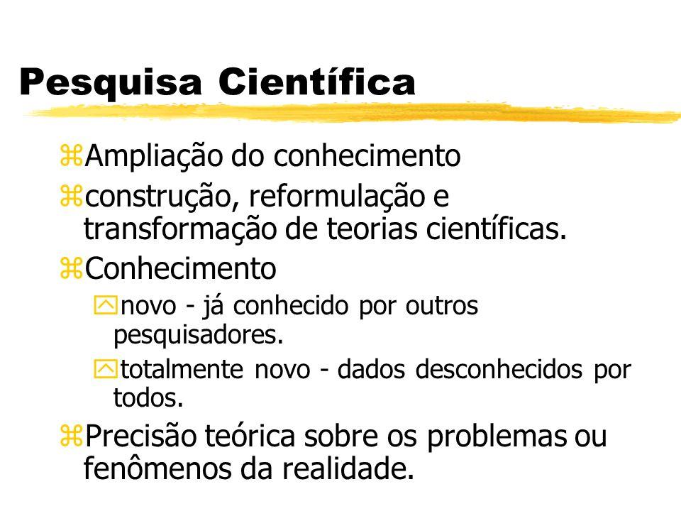 Pesquisa Científica zAmpliação do conhecimento zconstrução, reformulação e transformação de teorias científicas. zConhecimento ynovo - já conhecido po