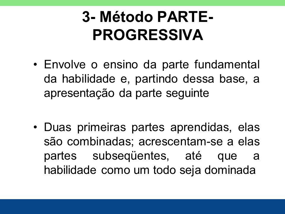 3- Método PARTE- PROGRESSIVA Envolve o ensino da parte fundamental da habilidade e, partindo dessa base, a apresentação da parte seguinte Duas primeir