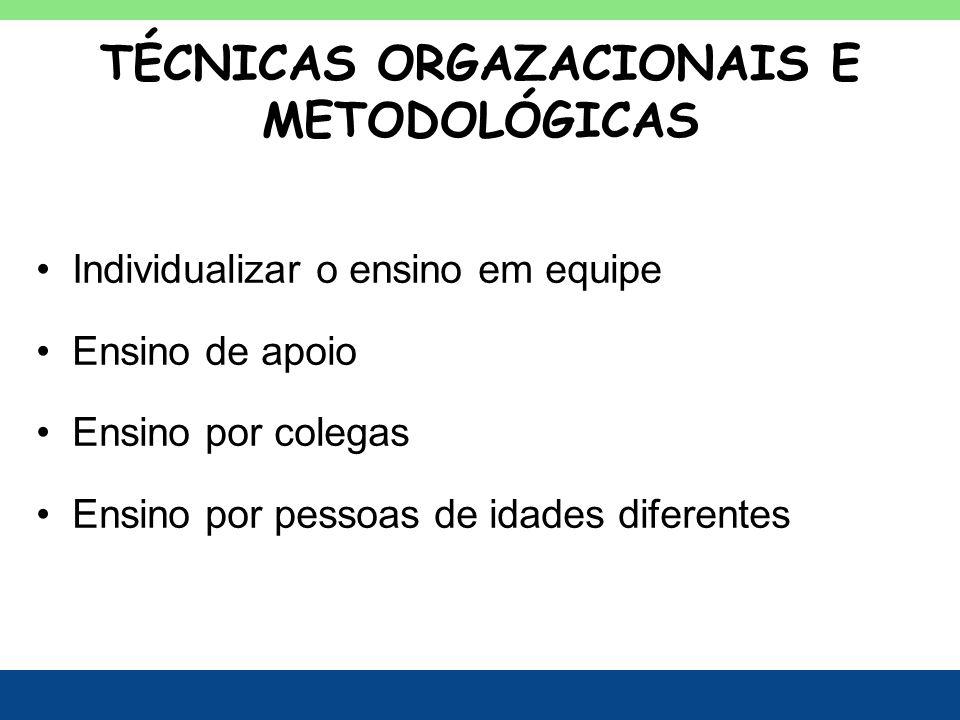 TÉCNICAS ORGAZACIONAIS E METODOLÓGICAS Individualizar o ensino em equipe Ensino de apoio Ensino por colegas Ensino por pessoas de idades diferentes