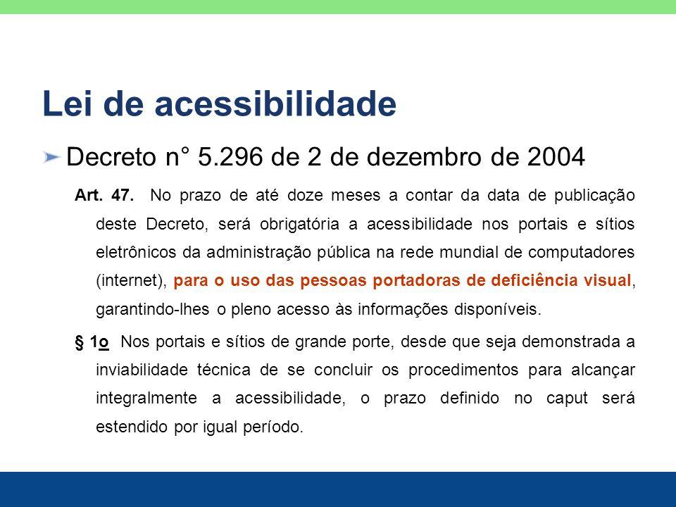 Lei de acessibilidade Decreto n° 5.296 de 2 de dezembro de 2004 Art. 47. No prazo de até doze meses a contar da data de publicação deste Decreto, será