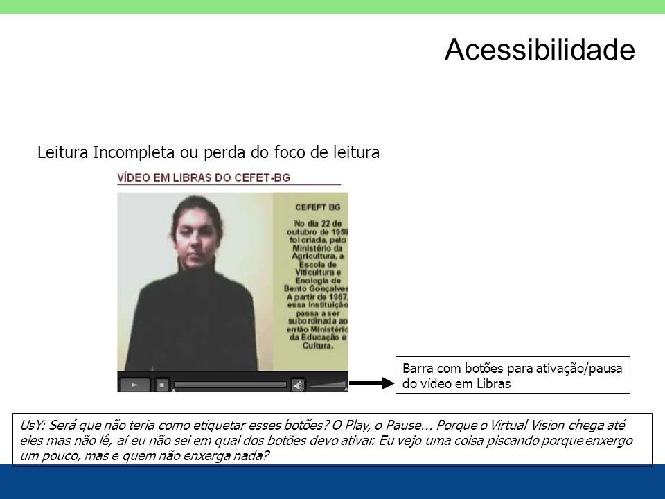 Acessibilidade Leitura Incompleta ou perda do foco de leitura Barra com botões para ativação/pausa do vídeo em Libras UsY: Será que não teria como eti
