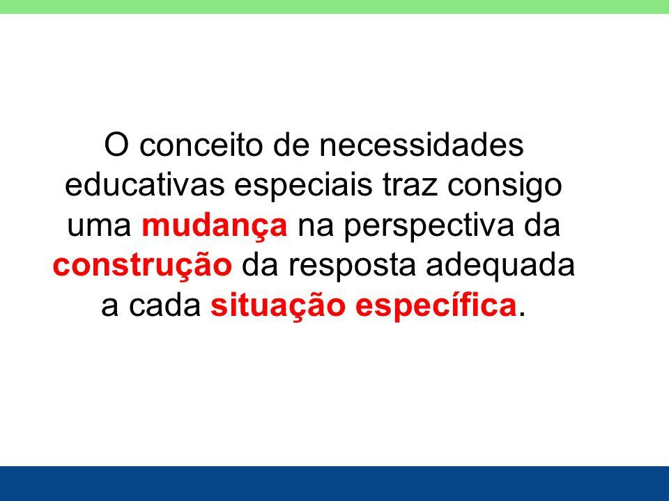 O conceito de necessidades educativas especiais traz consigo uma mudança na perspectiva da construção da resposta adequada a cada situação específica.
