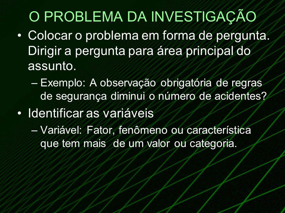 O PROBLEMA DA INVESTIGAÇÃO Colocar o problema em forma de pergunta. Dirigir a pergunta para área principal do assunto. –Exemplo: A observação obrigató