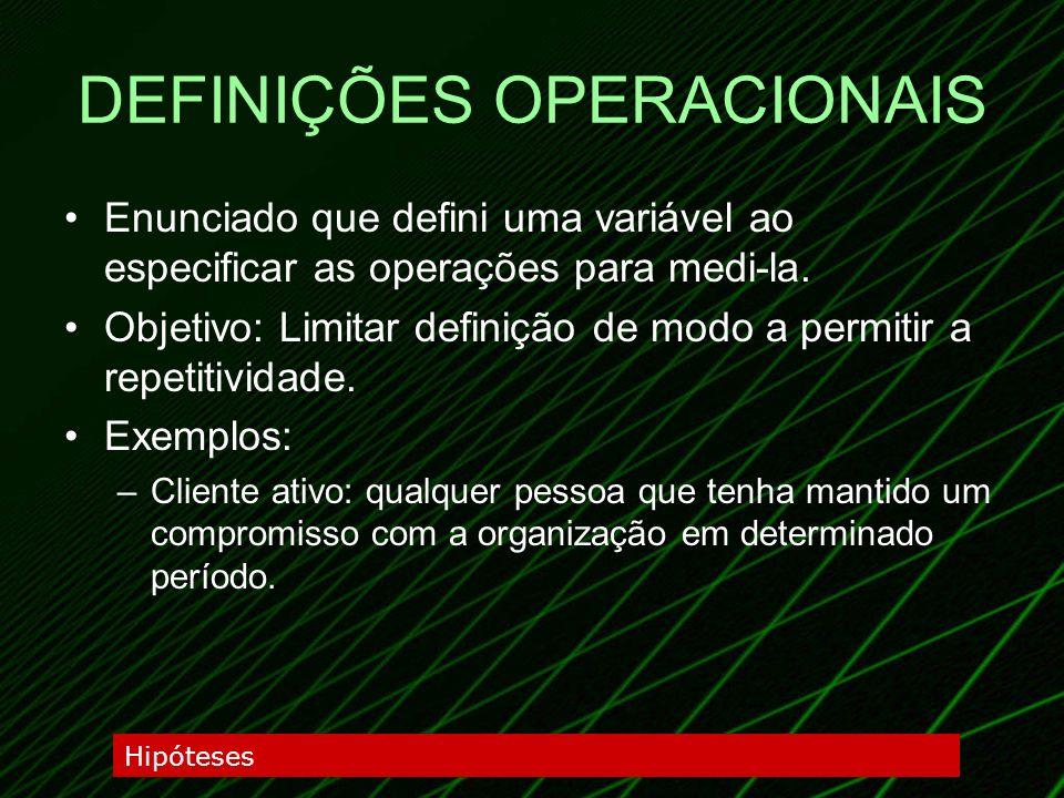 DEFINIÇÕES OPERACIONAIS Enunciado que defini uma variável ao especificar as operações para medi-la. Objetivo: Limitar definição de modo a permitir a r