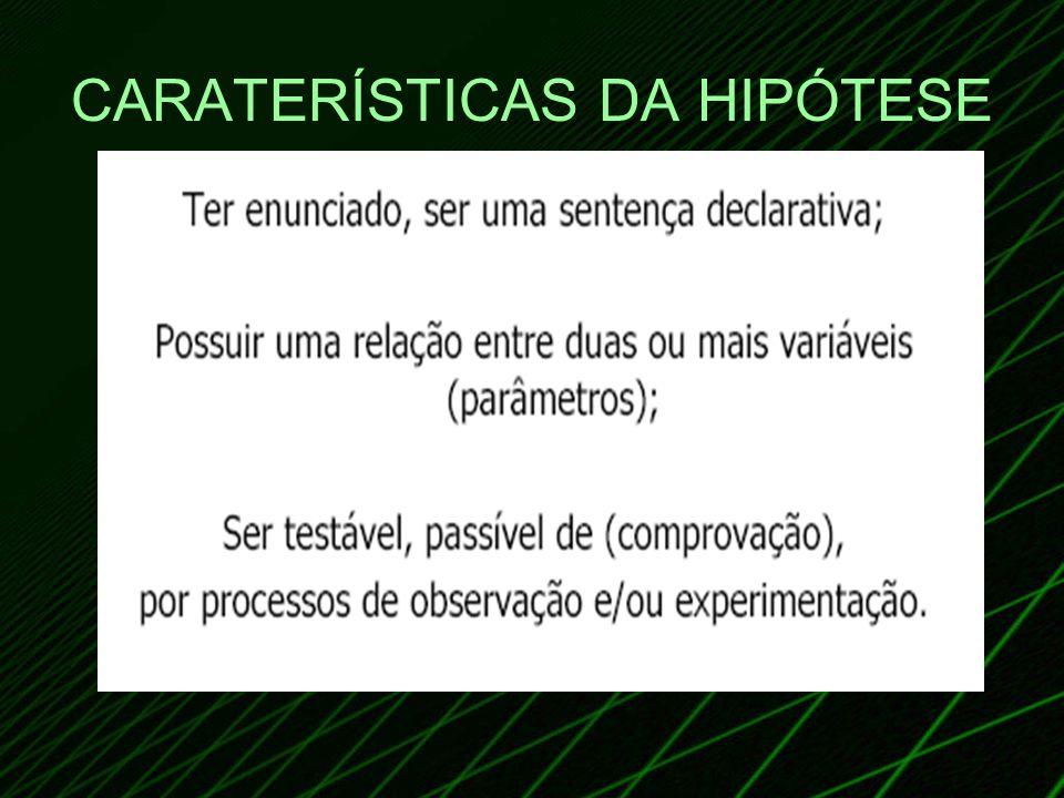 CARATERÍSTICAS DA HIPÓTESE