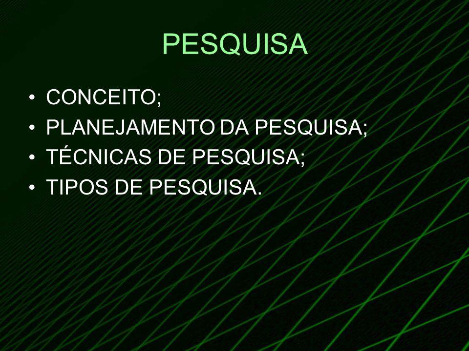 PESQUISA CONCEITO; PLANEJAMENTO DA PESQUISA; TÉCNICAS DE PESQUISA; TIPOS DE PESQUISA.