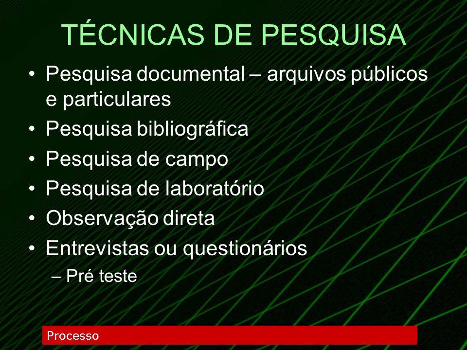 TÉCNICAS DE PESQUISA Pesquisa documental – arquivos públicos e particulares Pesquisa bibliográfica Pesquisa de campo Pesquisa de laboratório Observaçã