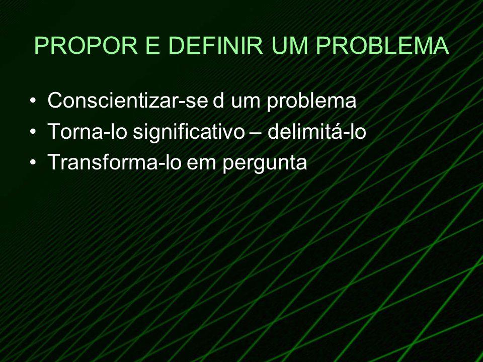 PROPOR E DEFINIR UM PROBLEMA Conscientizar-se d um problema Torna-lo significativo – delimitá-lo Transforma-lo em pergunta