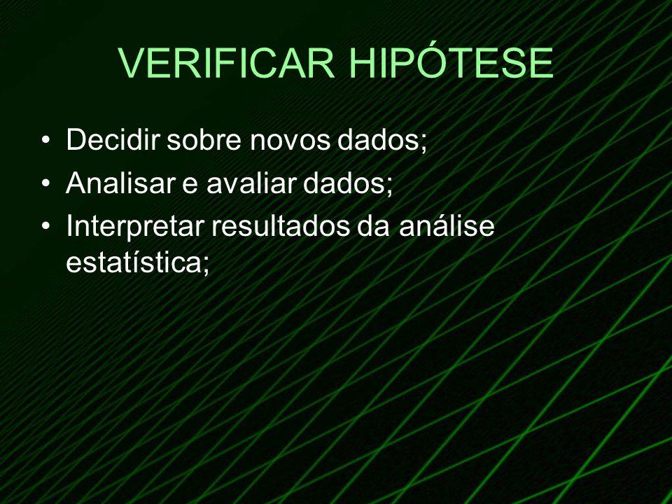 VERIFICAR HIPÓTESE Decidir sobre novos dados; Analisar e avaliar dados; Interpretar resultados da análise estatística;