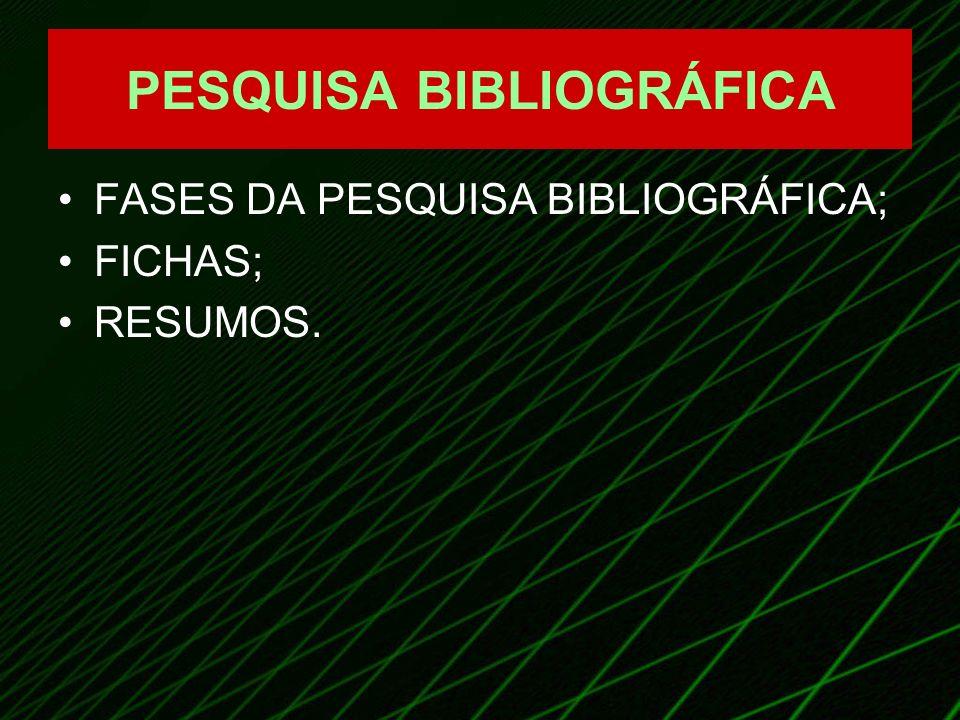 PESQUISA BIBLIOGRÁFICA FASES DA PESQUISA BIBLIOGRÁFICA; FICHAS; RESUMOS.