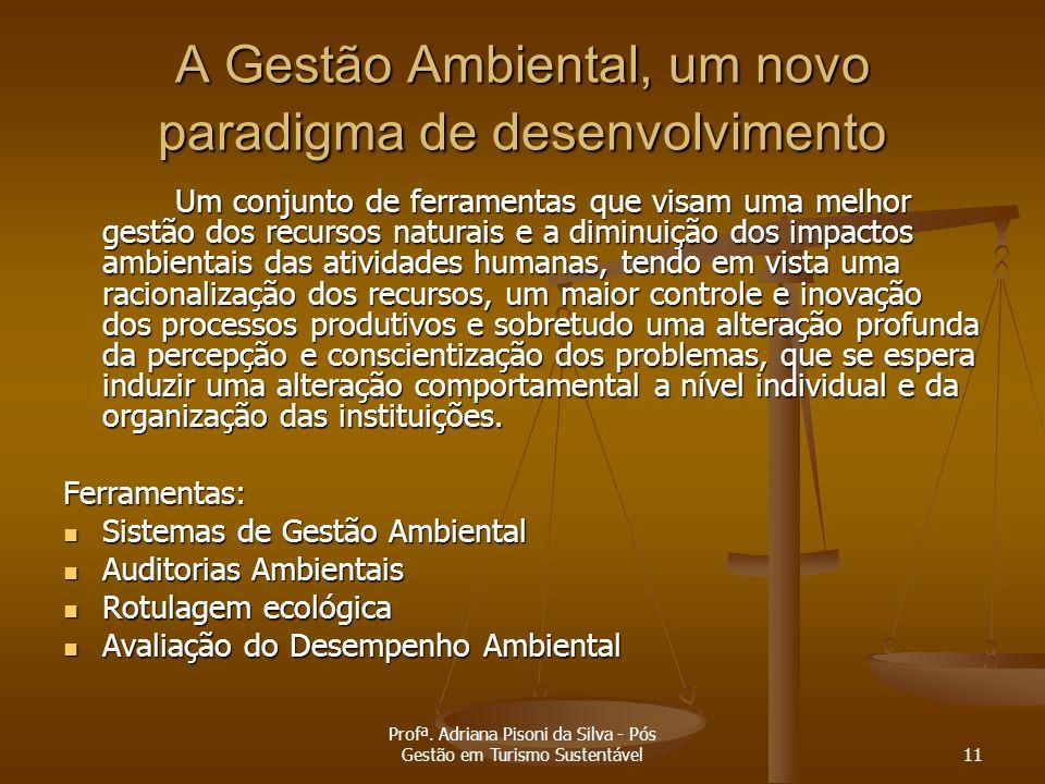 Profª. Adriana Pisoni da Silva - Pós Gestão em Turismo Sustentável11 A Gestão Ambiental, um novo paradigma de desenvolvimento Um conjunto de ferrament