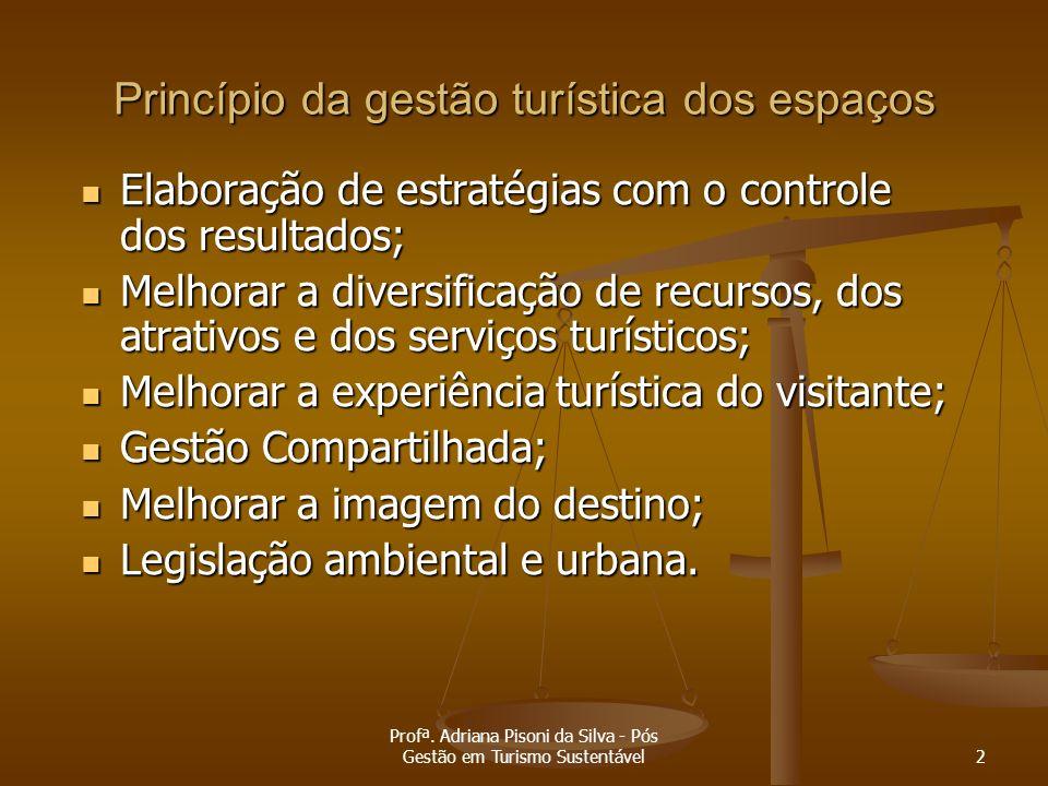 Profª. Adriana Pisoni da Silva - Pós Gestão em Turismo Sustentável2 Princípio da gestão turística dos espaços Elaboração de estratégias com o controle