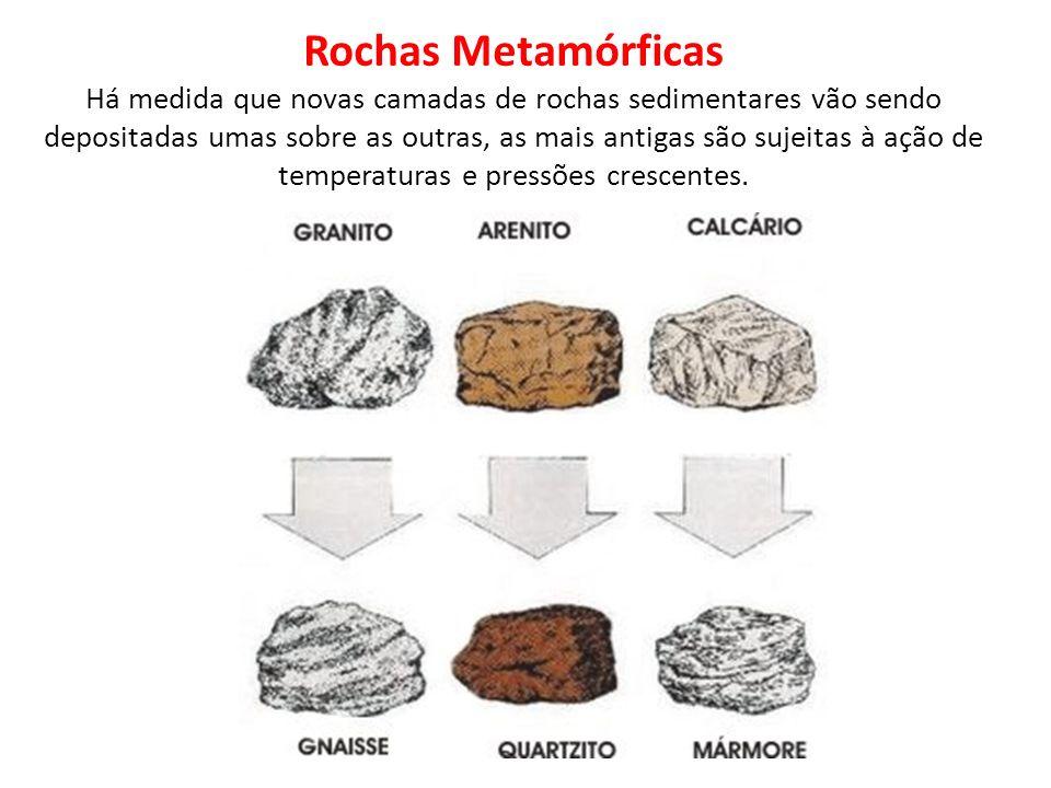 Rochas Metamórficas Há medida que novas camadas de rochas sedimentares vão sendo depositadas umas sobre as outras, as mais antigas são sujeitas à ação