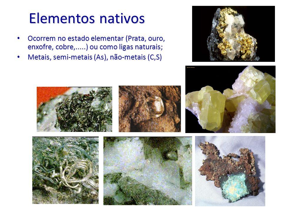 Elementos nativos Ocorrem no estado elementar (Prata, ouro, enxofre, cobre,.....) ou como ligas naturais; Ocorrem no estado elementar (Prata, ouro, en
