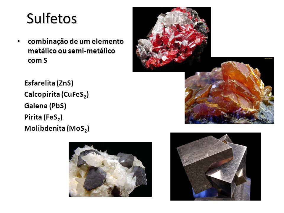 Sulfetos combinação de um elemento metálico ou semi-metálico com S combinação de um elemento metálico ou semi-metálico com S Esfarelita (ZnS) Calcopir