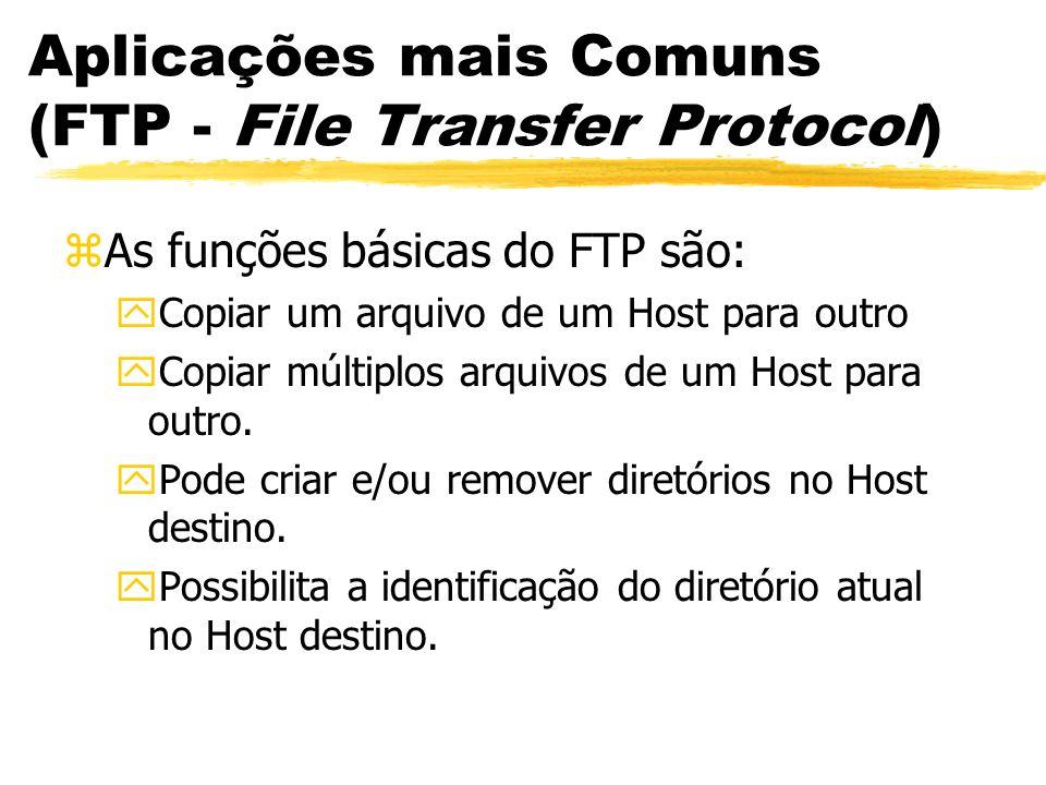 Aplicações mais Comuns (FTP - File Transfer Protocol) zAs funções básicas do FTP são: yCopiar um arquivo de um Host para outro yCopiar múltiplos arqui