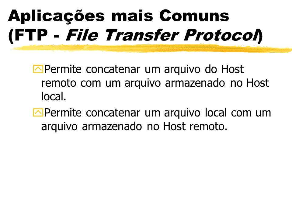 Aplicações mais Comuns (FTP - File Transfer Protocol) yPermite concatenar um arquivo do Host remoto com um arquivo armazenado no Host local. yPermite
