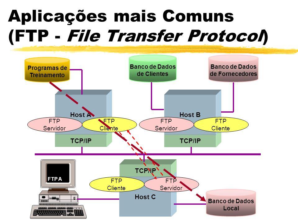 Aplicações mais Comuns (FTP - File Transfer Protocol) Host C TCP/IP Programas de Treinamento Banco de Dados de Clientes Banco de Dados Local Host AHos