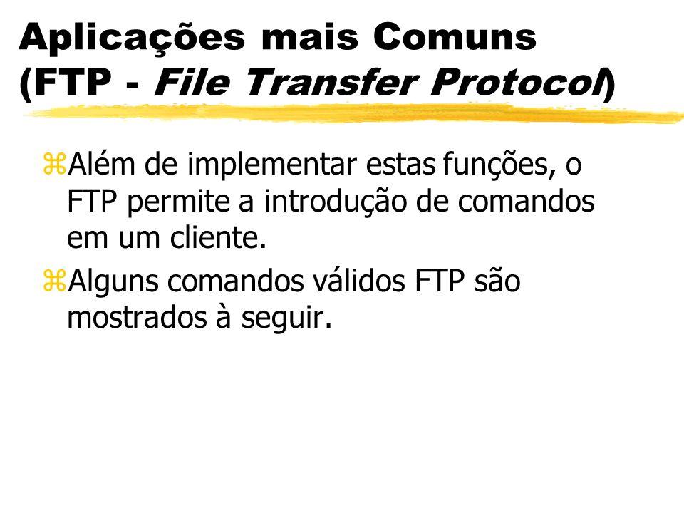 Aplicações mais Comuns (FTP - File Transfer Protocol) zAlém de implementar estas funções, o FTP permite a introdução de comandos em um cliente. zAlgun