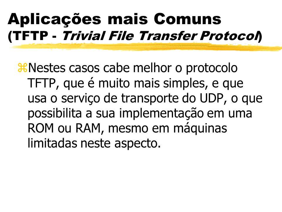 Aplicações mais Comuns (TFTP - Trivial File Transfer Protocol) zNestes casos cabe melhor o protocolo TFTP, que é muito mais simples, e que usa o servi